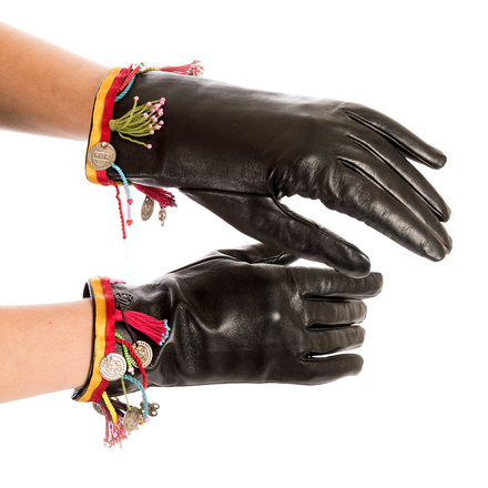 Buy: Black Leather Gloves with Coloured Details Size S-M
