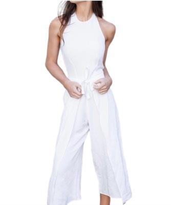 Buy: White Linen Jumpsuit Size 6-8