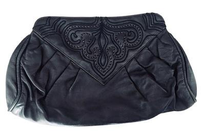 Buy: Vintage Black Leather Clutch Handbag