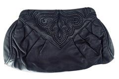 For  Sale: BRACCIALINI Vintage Black Leather Clutch Handbag