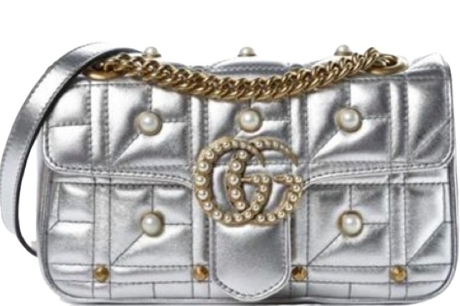For  Sale: Metallic Matelasse Pearly Mini GG Marmont Bag Silver