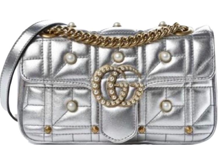 Buy: Metallic Matelasse Pearly Mini GG Marmont Bag Silver