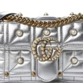 For  Sale: GUCCI Metallic Matelasse Pearly Mini GG Marmont Bag Silver