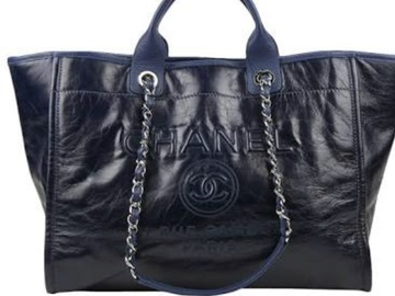 For  Sale: CHANEL Deauville Leather Blue Silver Chain Tote