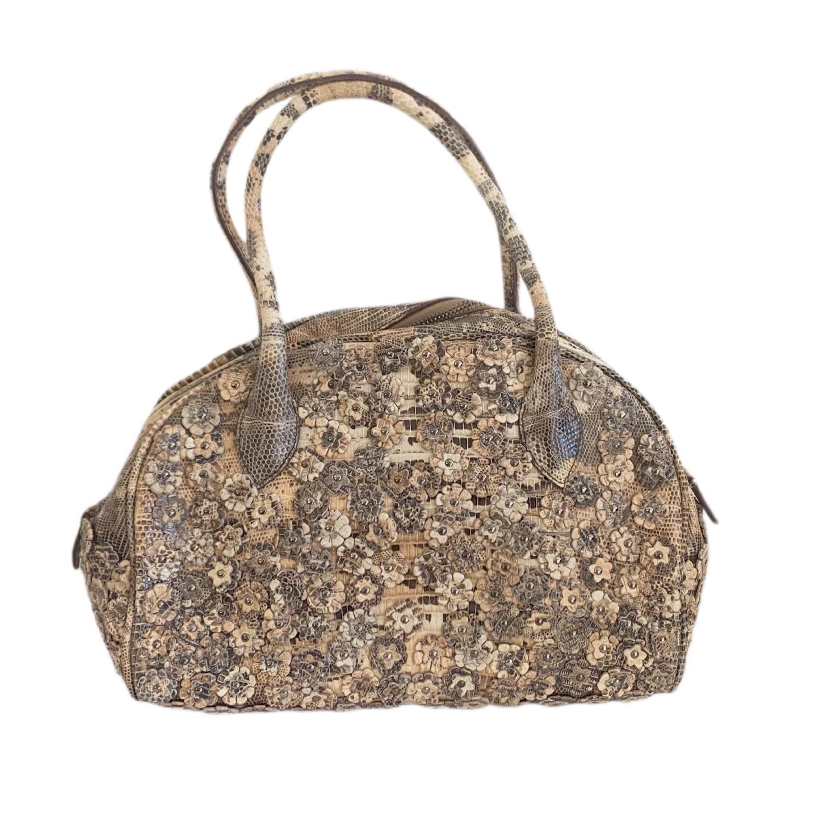 Buy: ALAÏA Floral Embellished Leather Handbag