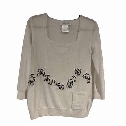 Re-sell: Light Angora Sweater with Beading Size 8-10