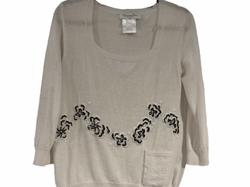 For  Sale: CHRISTIAN DIOR Light Angora Sweater with Beading Size 8-10