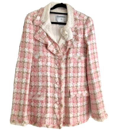 Re-sell: Pink Tweed Blazer with Camellia Size 8