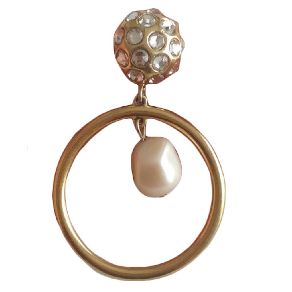 Buy: Gold-Tone with Swarovski Crystals & Faux Pearl Earrings