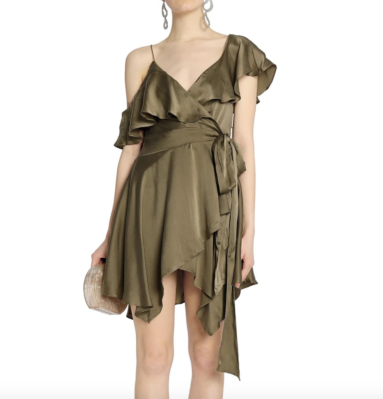 Buy: Asymmetrical Green Wrap Dress Size 6