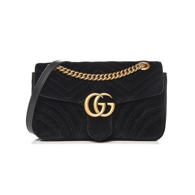 Buy: Marmont Small Black Velvet Shoulder Bag