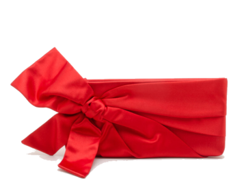 For Rent : VALENTINO Red Satin Bow Clutch
