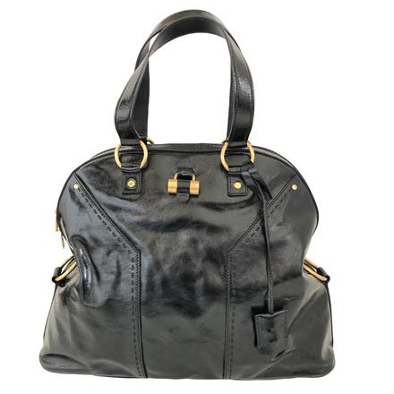 Re-sell: SAINT LAURENT YSL Muse Oversize Black Patent Leather Satchel