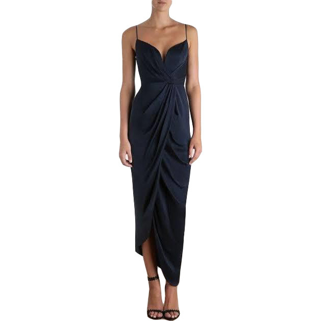 Buy: N Sueded Silk Plunge Long Dress Size 4 BNWT