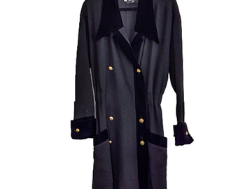For  Sale: CHANEL Velvet Trim Double Breasted Coat Dress Size 8-10