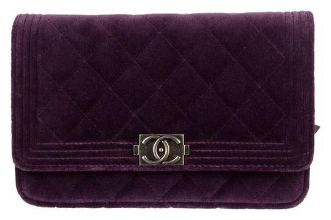 Re-sell: Wallet on Chain Boy Woc Purple Velvet Cross Body Bag