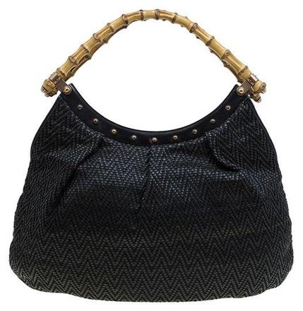 Re-sell: Woven Bamboo Black Leather Hobo Bag