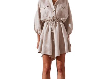 For  Sale: SHONA JOY Hamilton Balloon Sleeve Linen Dress Size 12-14