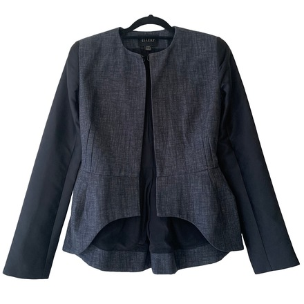 Re-sell: Blue Black Linen/Silk Tailored Jacket Size 6