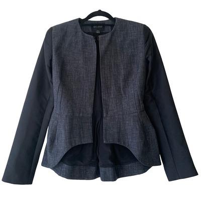 Buy: Blue Black Linen/Silk Tailored Jacket Size 6