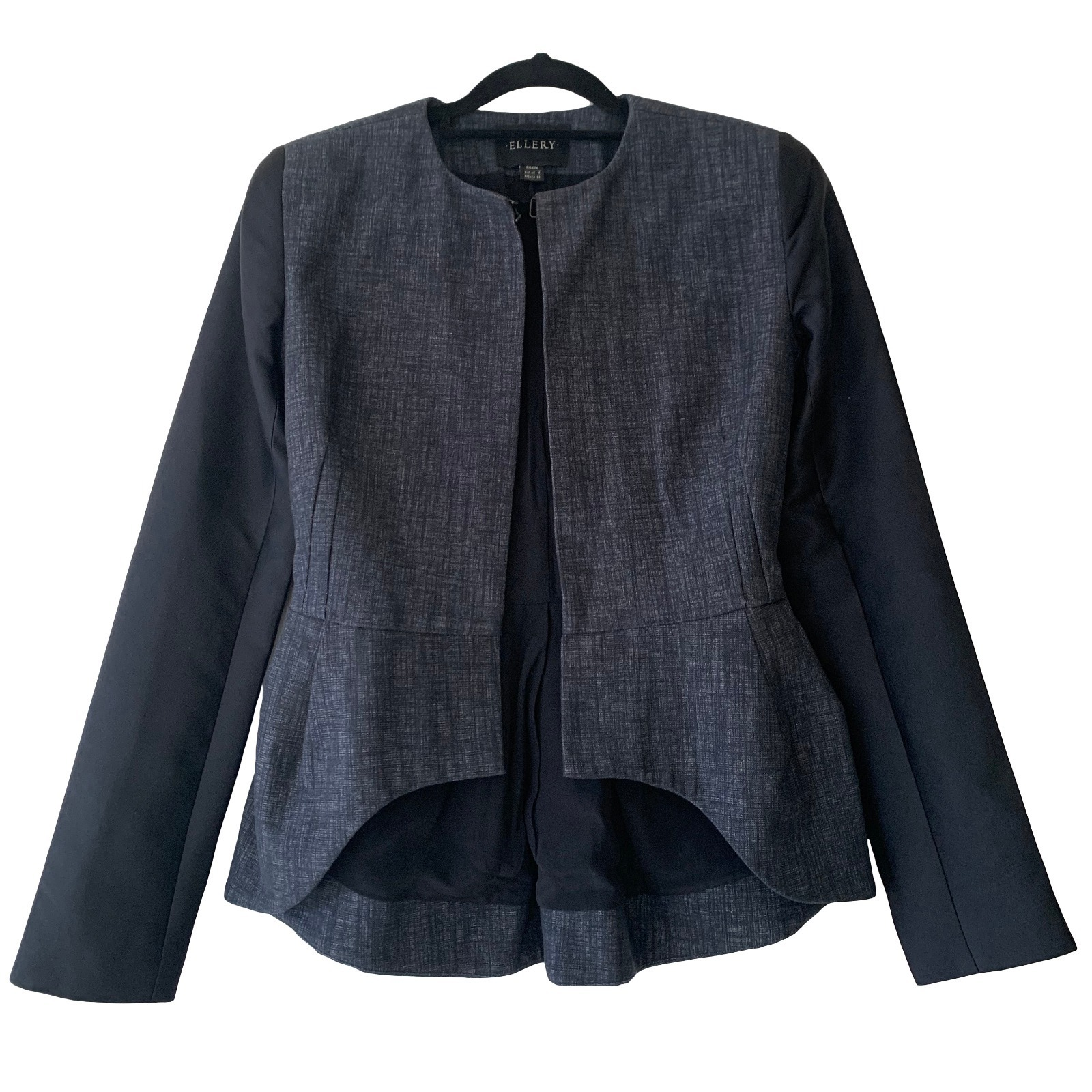 Buy: Blue Black Linen/Silk Tailored Jacket Size 6