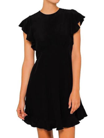 Rent: Black Silk Frill Mini Dress Size 10