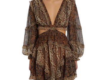 For Rent : ZIMMERMANN Tali Batik Cut Out Dress Size 10