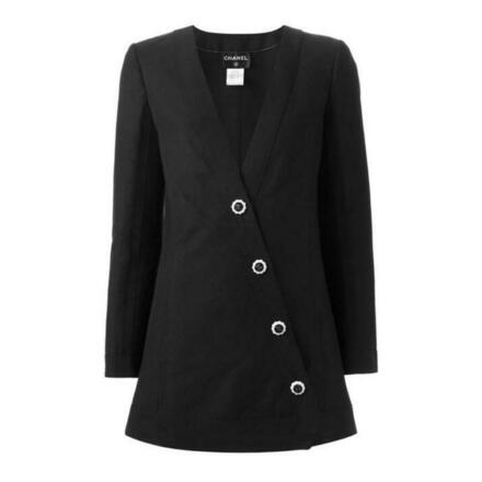 Re-sell: Black Linen Asymmetric Button Long Blazer