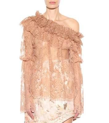 Buy: Bowerbird One-Shoulder Lace Sheer Shirt Size 12-14
