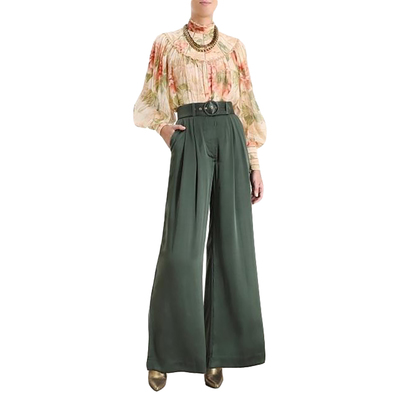 Buy: Silk Tuck Belted Pants Size 8