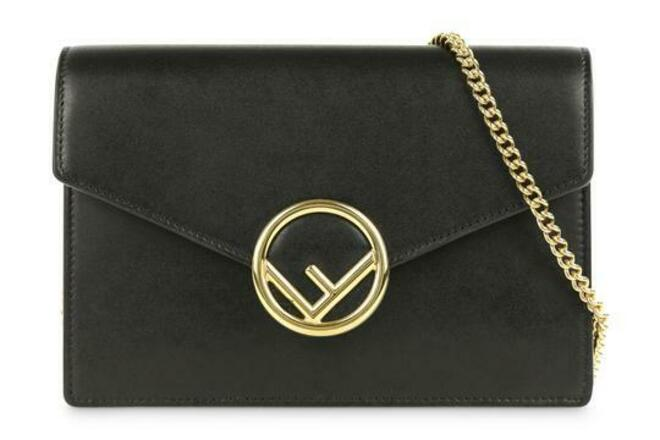 Re-sell: Wallet on Chain Mini Kan Black Calfskin Leather Cross Body