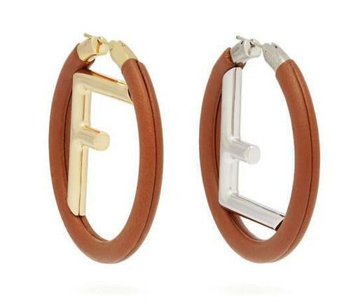 Re-sell: Tan Brown Gold Silver Logo Leather Hoop Earrings