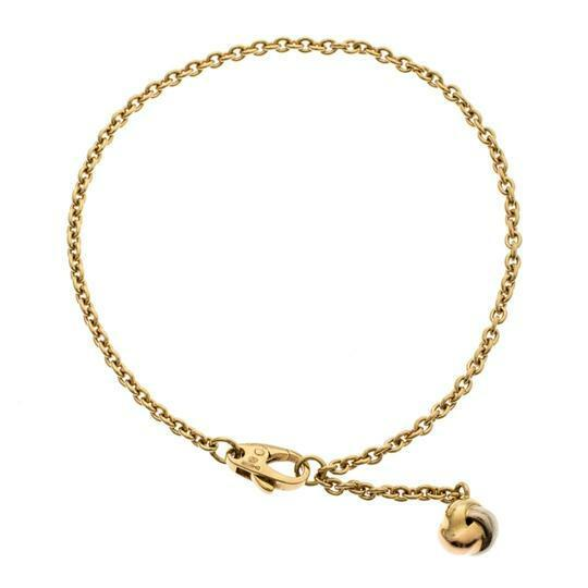 Buy: Love Knot Three Tone 18k Gold Dangling Charm Bracelet