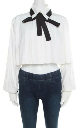 Re-sell: Cotton Contrast Neck Tie Cropped Blouse