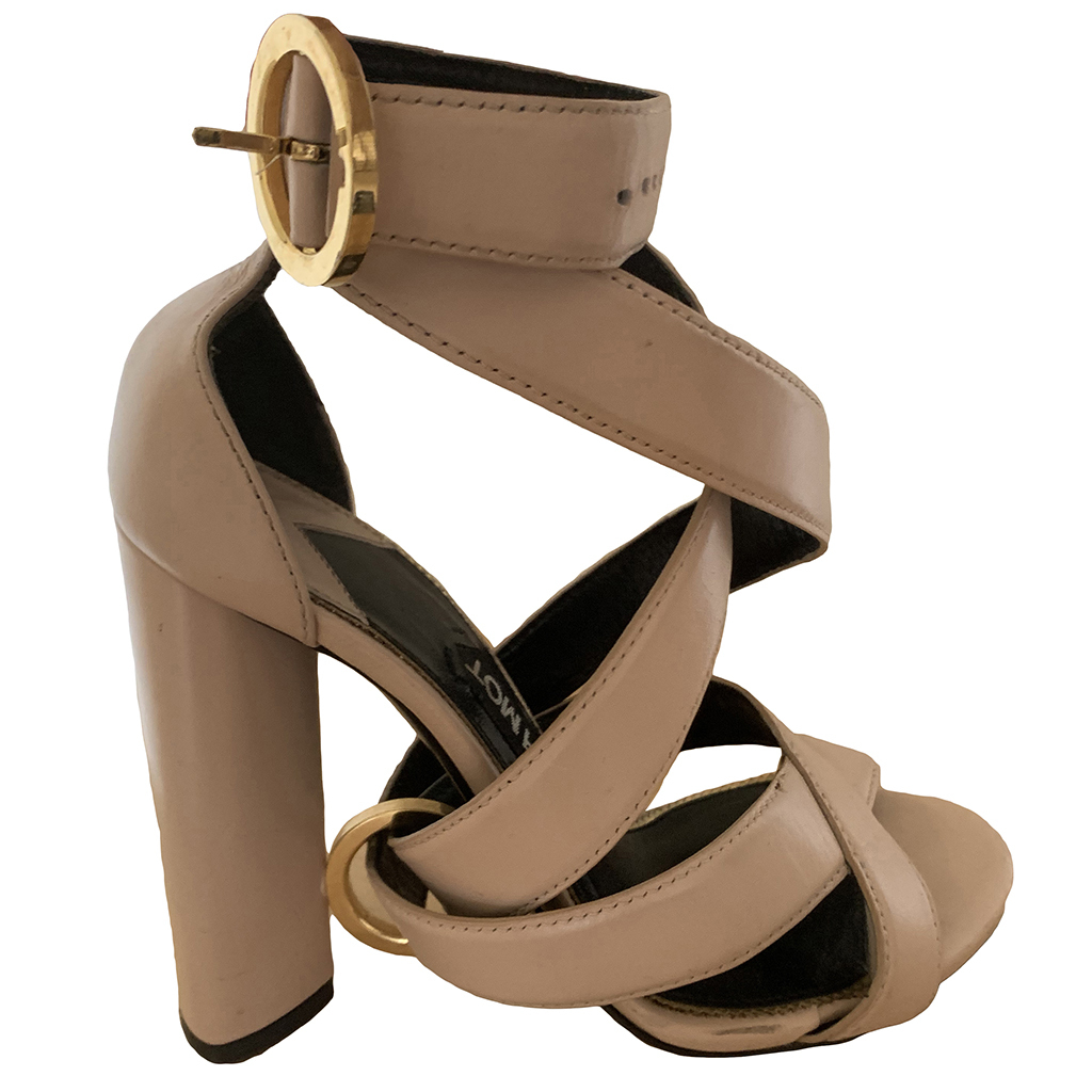 Buy: Brown Ankle Wrap Ring Block Heel Sandals Size 5-5.5