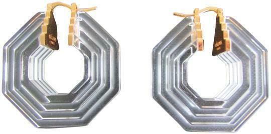 Re-sell: Clear Gold Art Deco Octogonal Earrings