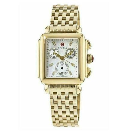 Buy: Gold Deco Stainless Steel Mother Of Pearl Diamond Watch