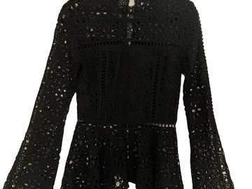 For  Sale: MINISTRY OF STYLE Lush Lace Long Sleeve Peplum Top Black Size 8