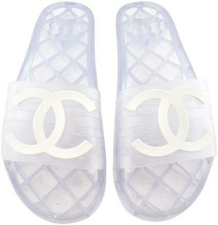 Re-sell: White 19p Transparent Clear Pvc Cc Logo Mule Pool Slide