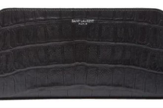 Re-sell: Black Croc Embossed Zip Around Wallet
