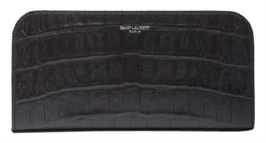 Buy: Black Croc Embossed Zip Around Wallet