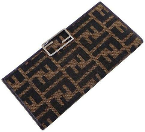 Re-sell: Brown Clutch Zucca Canvas Leather Checkbook Cover Long Wal