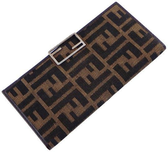 Buy: Brown Clutch Zucca Canvas Leather Checkbook Cover Long Wal
