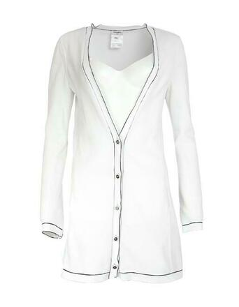 Re-sell: White W Cotton W/ Black Trim 36 Cardigan