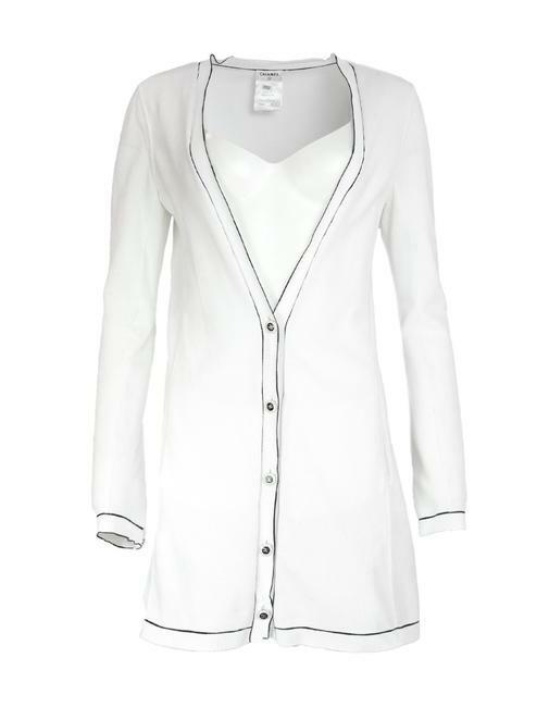 Buy: White W Cotton W/ Black Trim 36 Cardigan