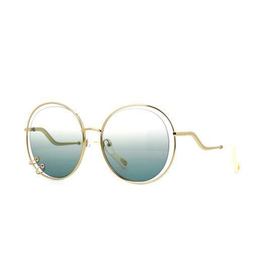 Buy: Chloé Blue Gold Gradient Wendy Round Sunglasses