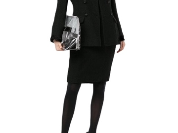 For  Sale: CHANEL Black Double Breasted Skirt Suit Silk Trim Size 8-10