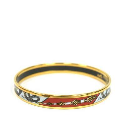 Buy: HERMES Black Metal Enamel Bangle Bracelet