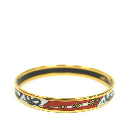 Buy: HERMES Black Metal Enamel Bangle Bracelet