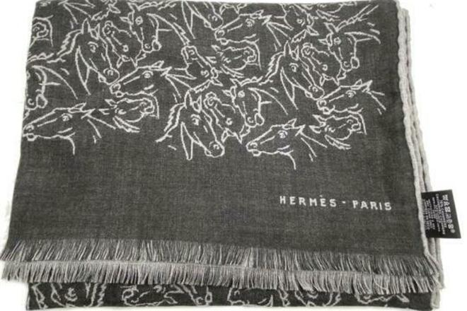 Re-sell: HERMES Dark Grey Light Grey Horse Pattern Cashmere Silk